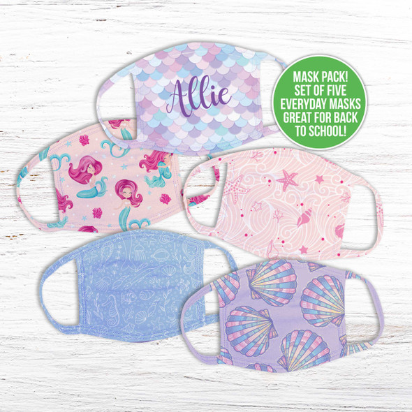 Girls variety pack set of five fabric face masks
