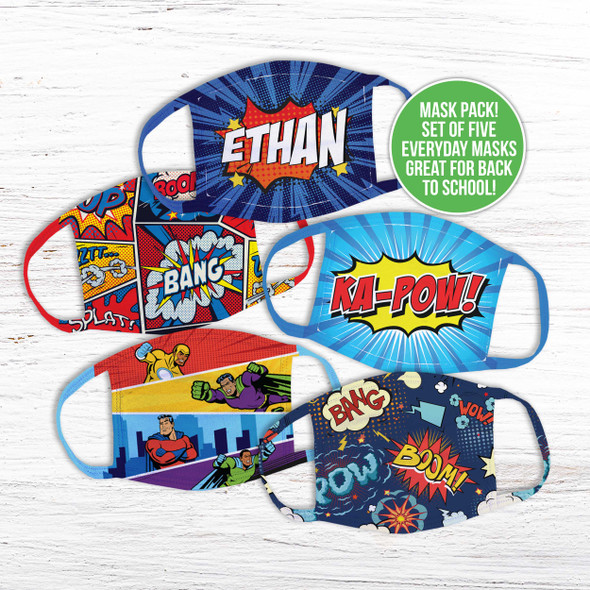 Comic book superhero set of five fabric face masks
