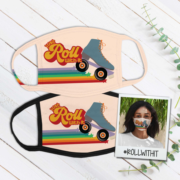 Just roll with it roller skate fabric face mask