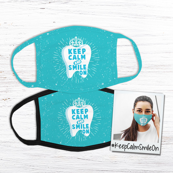 Keep calm and smile on fabric face mask