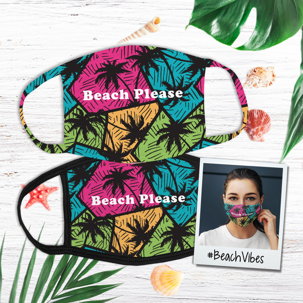 Beach please palm trees colorful geometric pattern face mask