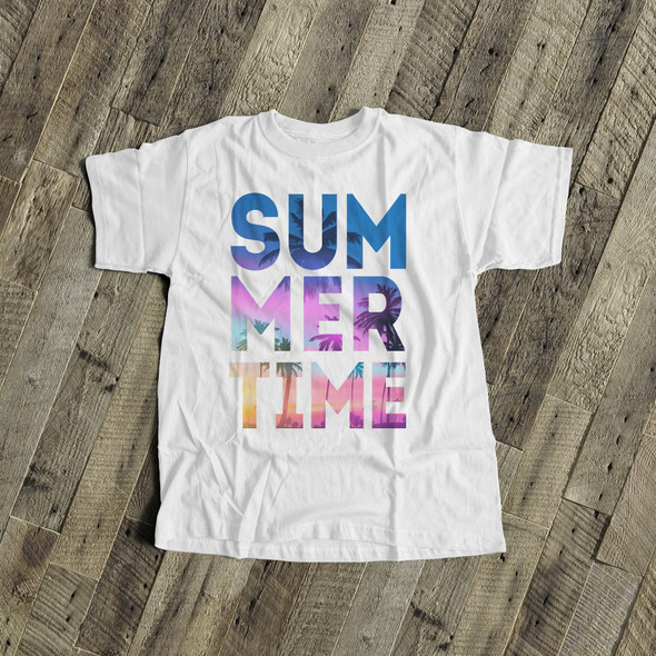 Summertime tropical beach blue text unisex adult crew neck or women's v-neck shirt