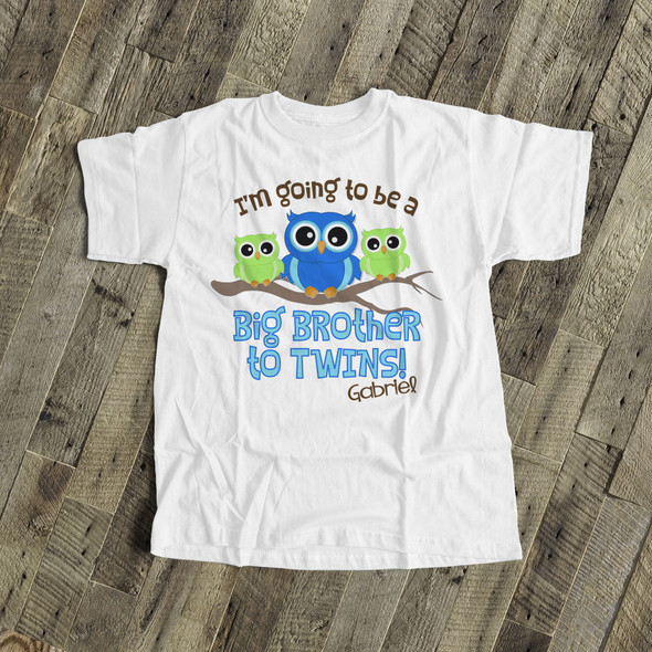 Big brother to be shirt big brother to twins owl pregnancy announcement Tshirt