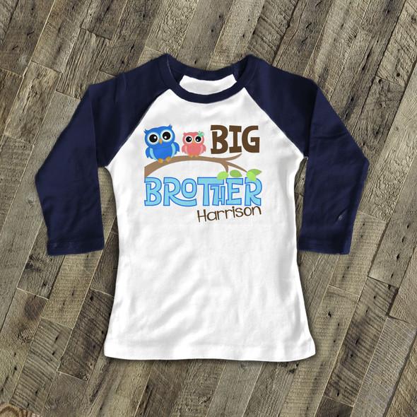 Big brother funky owl personalized raglan shirt
