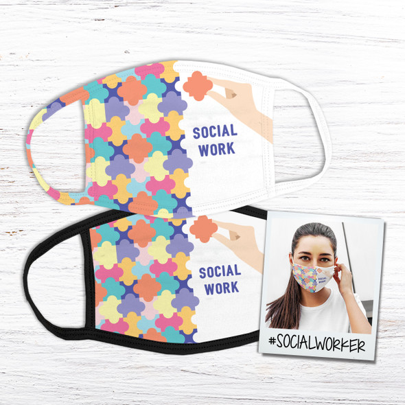 Social work puzzle piece fabric face mask