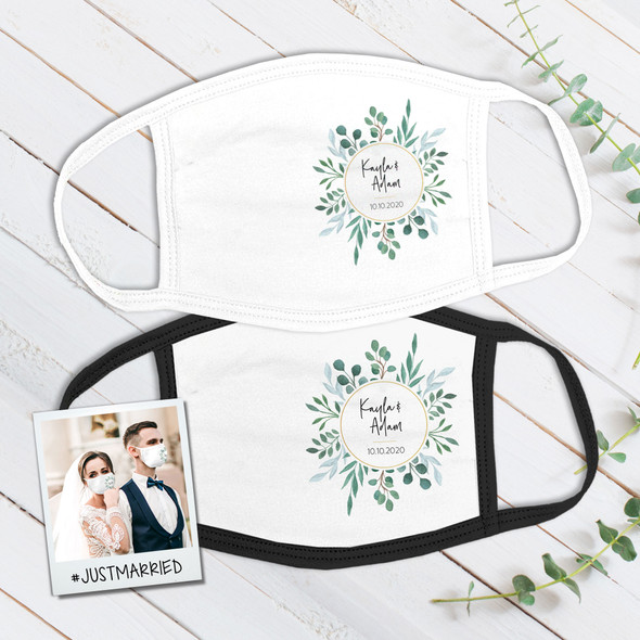 Wedding leafy wreath wedding guest favor personalized face mask
