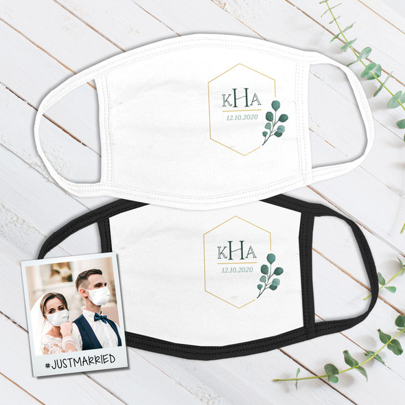 Wedding couple monogram eucalyptus sprig wedding guest favor fabric face mask