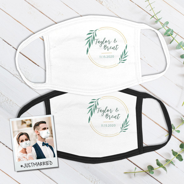 Wedding greenery gold ring wedding guest favor personalized face mask