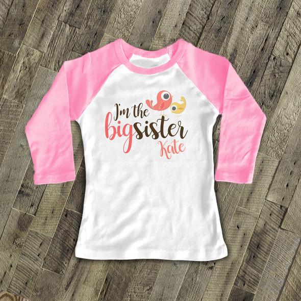 I'm the big sister birdie personalized raglan shirt