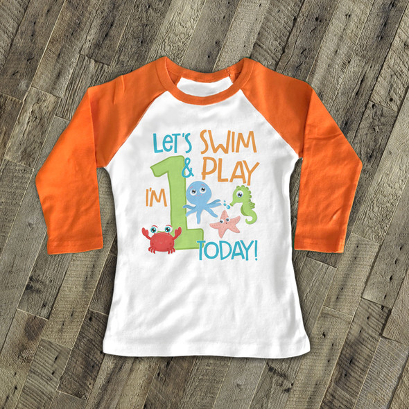 Birthday any age swim & play sea life raglan shirt
