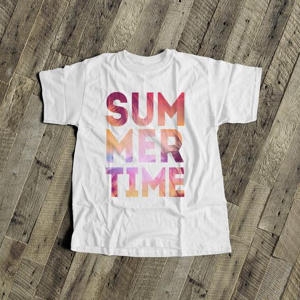 Summertime tropical beach pink yellow text kids Tshirt