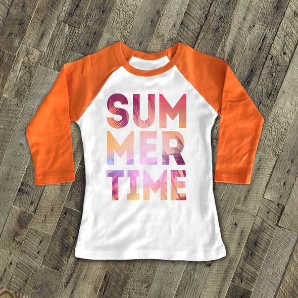 Summertime tropical beach pink yellow text kids raglan shirt