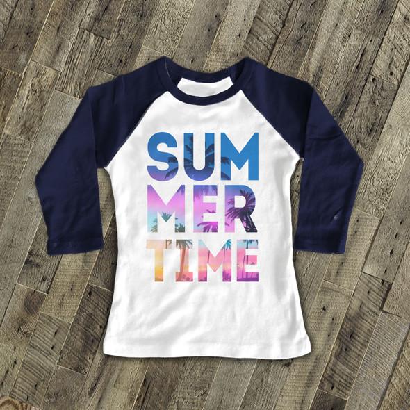 Summertime tropical beach blue text kids raglan shirt