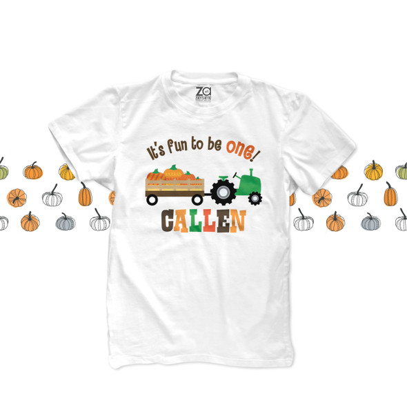 First birthday childrens 1st birthday Fall tractor and pumpkin personalized bodysuit or Tshirt