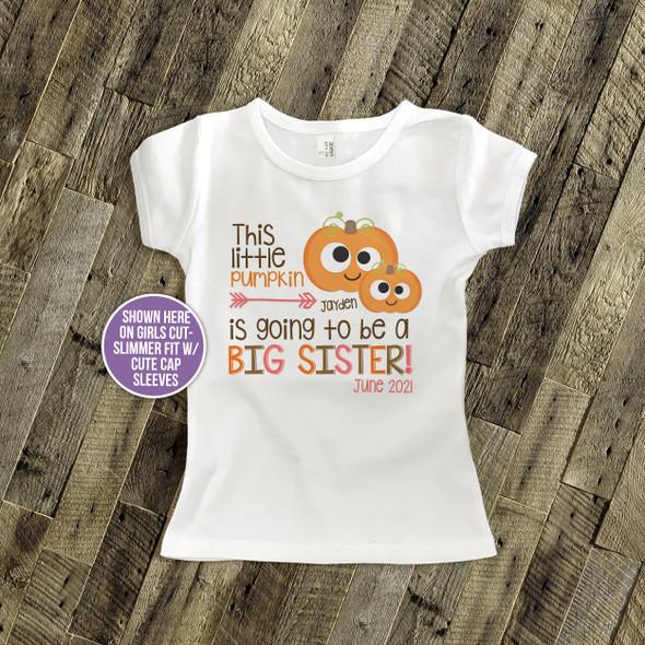 Googly eye pumpkin big sister to be pregnancy announcement Tshirt