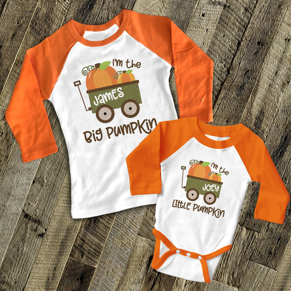 Fall sibling big pumpkin little pumpkin matching raglan shirt set