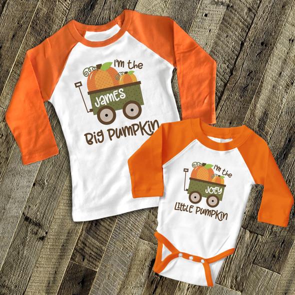 Fall sibling big pumpkin little pumpkin matching raglan shirt set