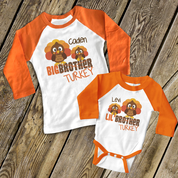 Thanksgiving sibling set big brother lil brother turkey matching raglan shirts
