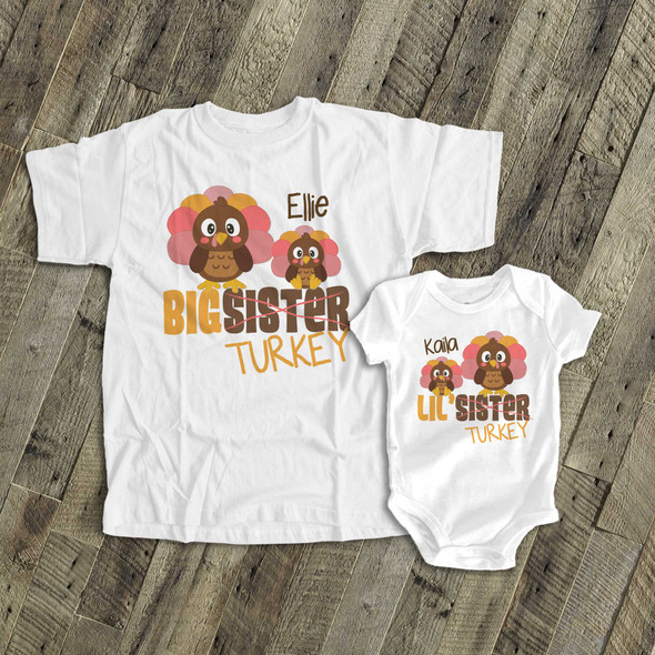 Thanksgiving sibling set big sister lil sister turkey matching Tshirts