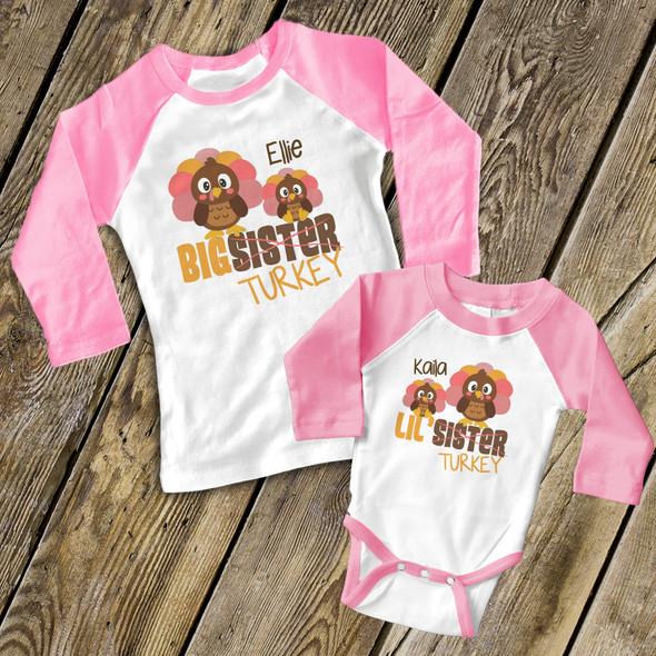 Thanksgiving sibling set big sister lil sister turkey matching raglan shirts