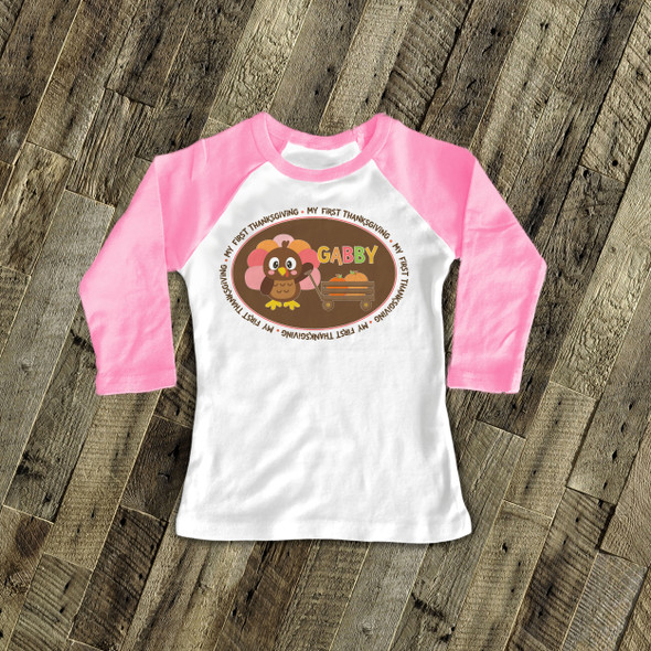 Thanksgiving turkey and pumpkin girl my first Thanksgiving raglan shirt
