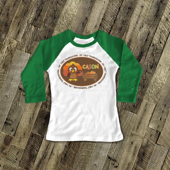 Thanksgiving turkey and pumpkin boy my first Thanksgiving raglan shirt