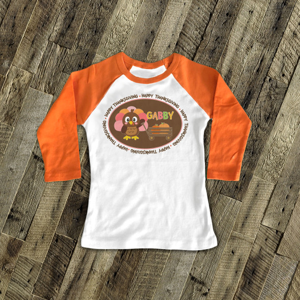 Thanksgiving girl turkey and pumpkin personalized raglan shirt