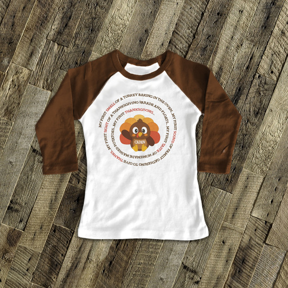 Thanksgiving little turkey first Thanksgiving personalized raglan shirt