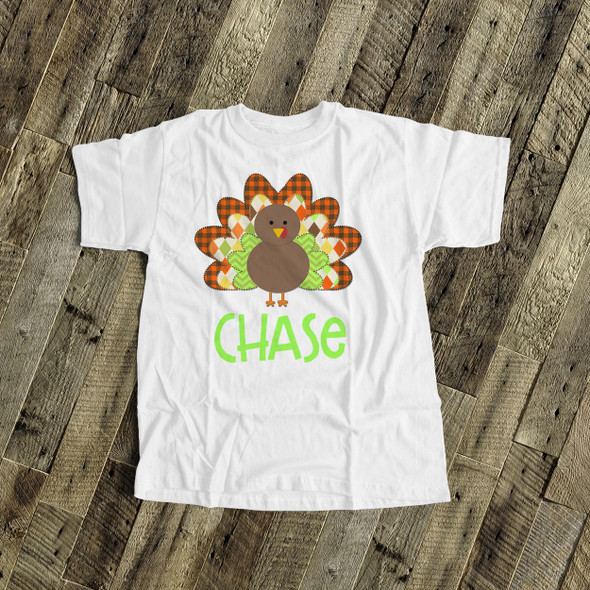 Thanksgiving boy turkey  personalized bodysuit or Tshirt