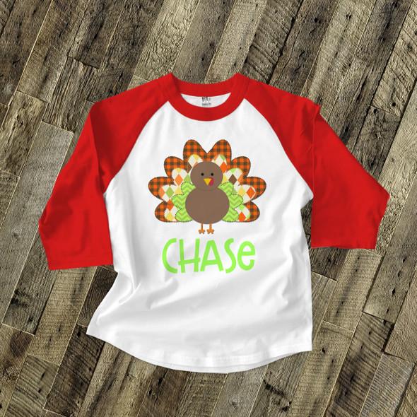 Thanksgiving boy turkey personalized raglan shirt