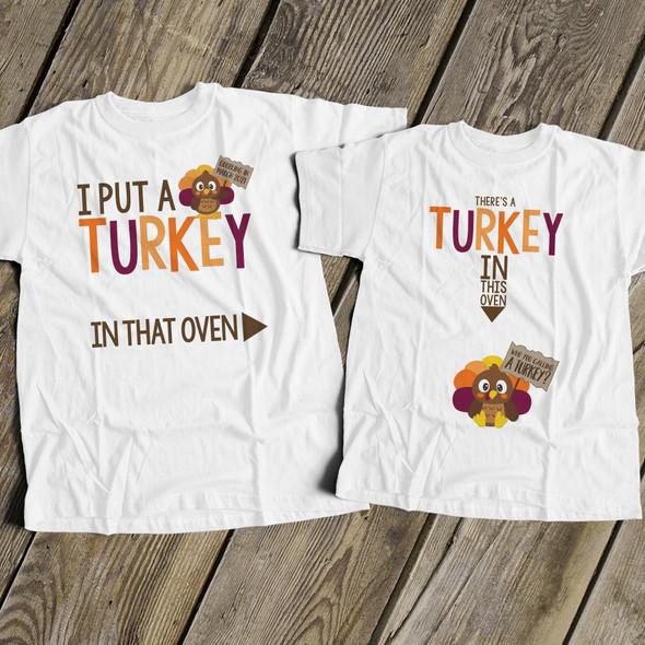 Thanksgiving turkey in oven pregnancy announcement unisex adult Tshirt set