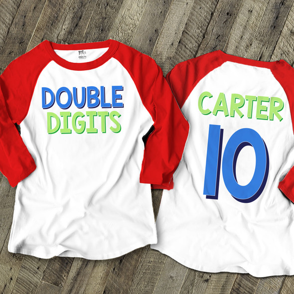 Tenth birthday boy double digits front and back print raglan shirt
