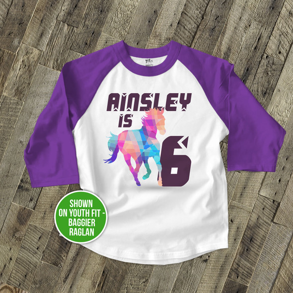 Birthday horse geometric any age girl personalized raglan shirt