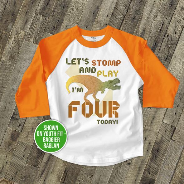 Birthday dinosaur geometric dino any age boy or girl personalized raglan shirt