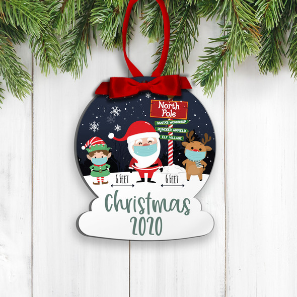Christmas 2020 social distancing santa elf reindeer commemorative ornament