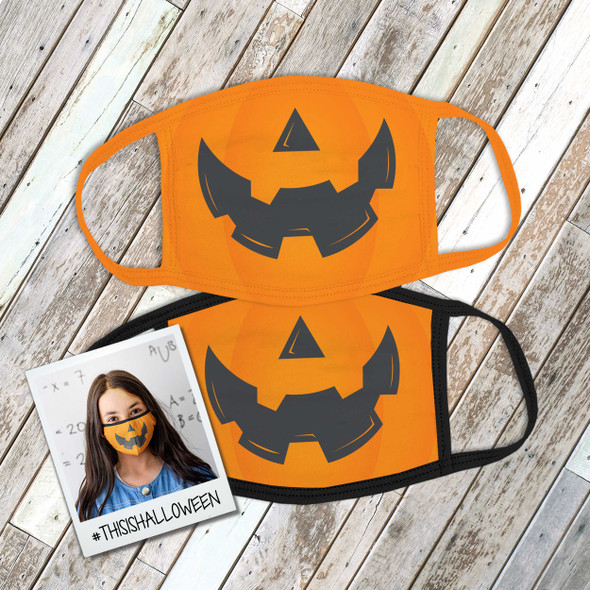 Halloween pumpkin face fabric face mask