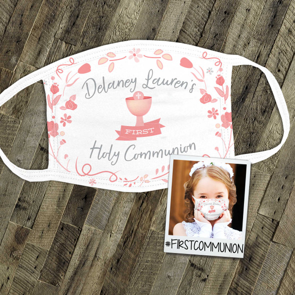 First Holy Communion girl personalized fabric face mask