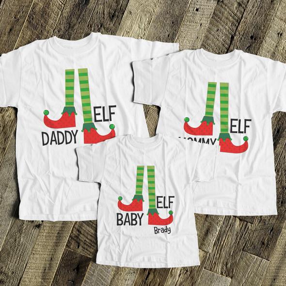 Christmas elf daddy mommy baby matching THREE shirt gift set