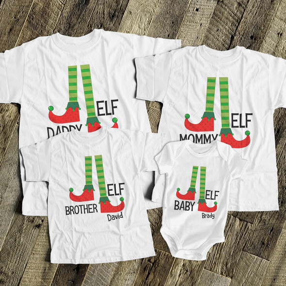 Christmas elf family matching FOUR shirt gift set