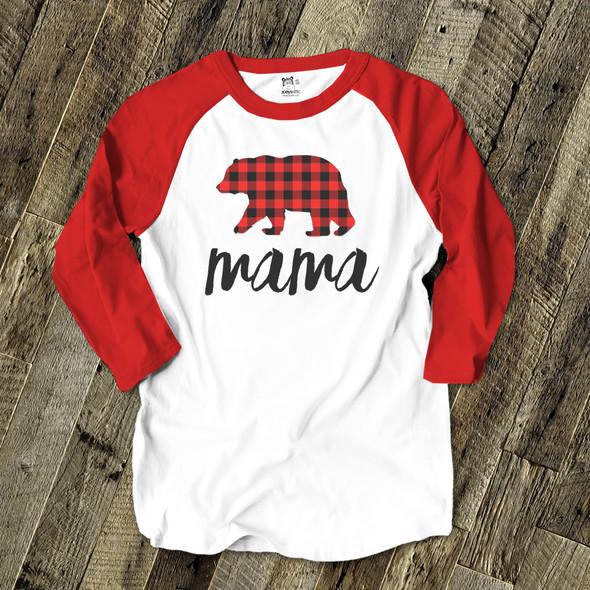 Christmas mama bear unisex ADULT raglan Christmas shirt
