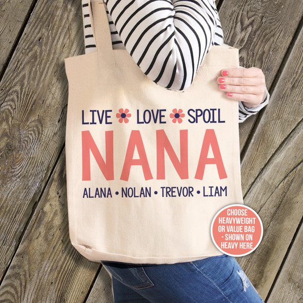 Nana or grandma tote live love spoil blue Nana personalized tote bag
