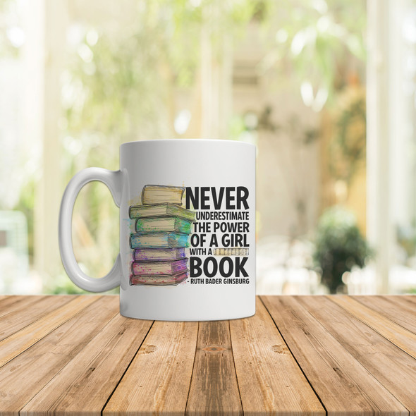 Ruth Bader Ginsburg never underestimate the power of a girl with a book watercolor book stack coffee mug