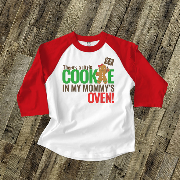 Christmas big sis to be little cookie in my mommy's oven raglan shirt