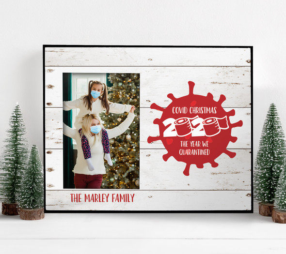 2020 Covid Christmas the year we quarantined personalized photo frame