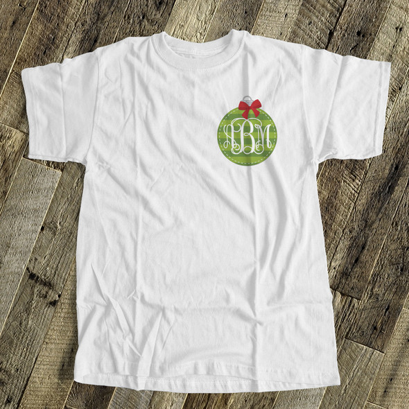 Holiday shirt monogram green Christmas ornament womens crew neck or v-neck personalized Tshirt