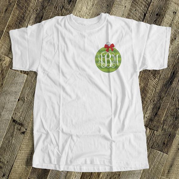 Holiday shirt monogram green Christmas ornament womens crew neck or v-neck personalized Tshirt