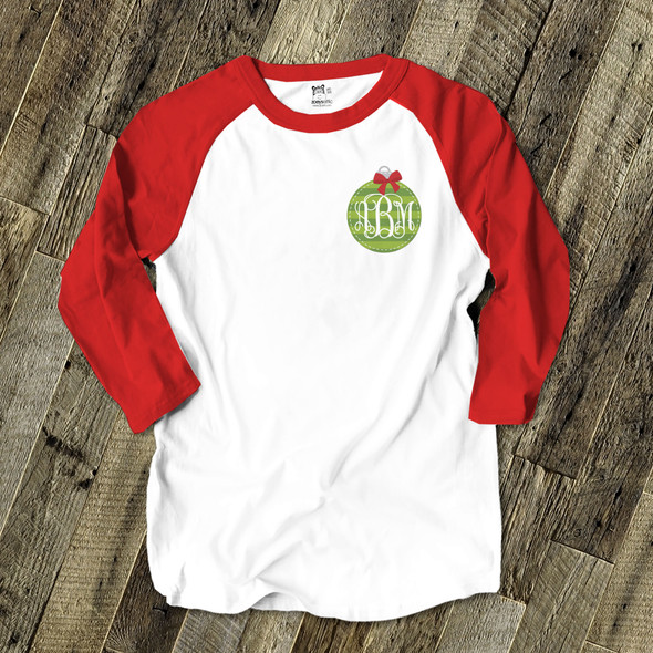 Monogram green ornament adult raglan shirt
