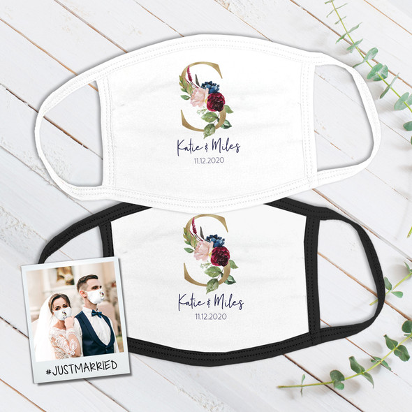 Wedding couple floral single initial wedding guest favor fabric face mask