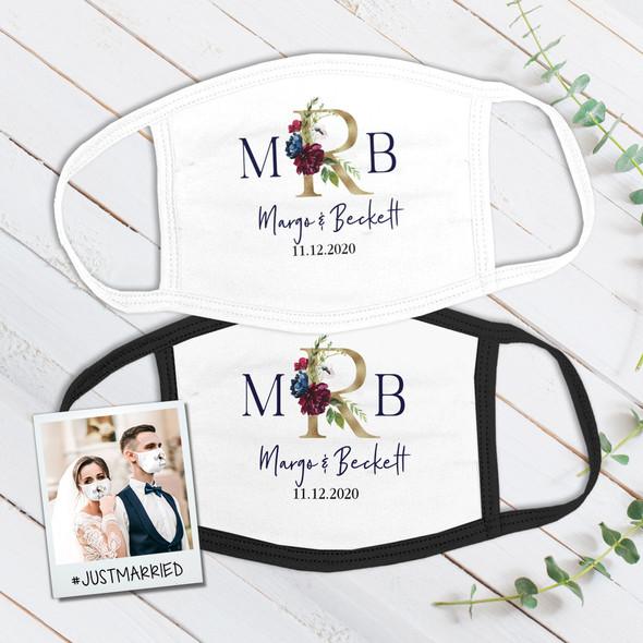 Wedding couple floral monogram wedding guest favor fabric face mask