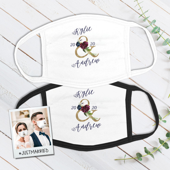 Wedding couple floral ampersand wedding guest favor personalized fabric face mask